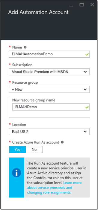 Automation Account Creation in Azure